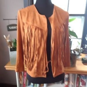 Size XXL faux suede tasseled quarter sleeve coat